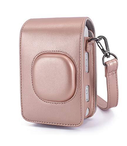 Phetium Schutztasche Kompatibel mit Instax Mini LiPlay hybrid Sofortbildkamera, Kameratasche mit Weichem PU Leder Material und Schulterriemen (Blush Gold)