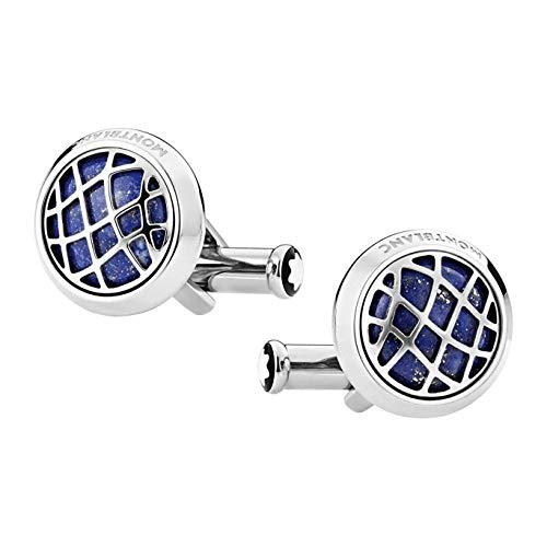 Montblanc Round Cufflinks Stainless Steel with Lapis Lazuli Inlay 123801