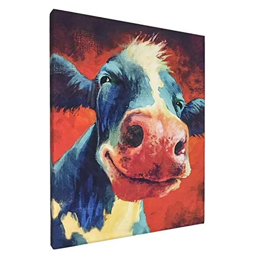 Gmamasim Home Canvas Print Wall Art Cute Smiling Cow Painting Poster Farm Animal Pictures for Living Room Bedroom Modern Artwork Decor Ready to Hang Framed Ready to Hang 8  W x 10  H