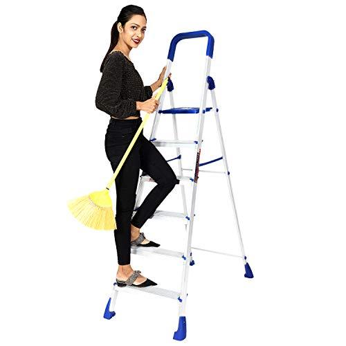 Paffy Premium Foldable Aluminium Step Ladder, Clamber Pro, 6 Steps (Blue & Satin)
