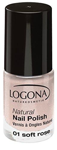 LOGONA Naturkosmetik Natural Nail Polish, Nagellack No. 01 Soft Rose, mit leichtem Schimmer, NATRUE/BDIH zertifiziert, 4 ml