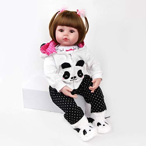 ZIYIUI 47 cm 18 Pollici Bambola Reborn Doll Realistico Fatto a Mano Silicone Vinile Neonata Bello Capelli Lunghi Bambino Realtà Doll Magnetico Giocattolo Regalo di Compleanno