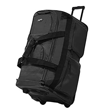 Olympia Luggage 29  8 Pocket Rolling Duffel Bag (Charcoal Gray w/ Black - Exclusive Color)