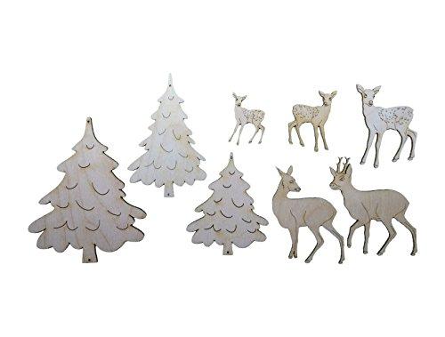 Petra's Bastel News 8-teiliges Holzset, bestehend aus verschiedenen Tannenbäumen (Rehe 5-10cm, Bäume 10-14cm), Holz, 0, 15x15x5 cm