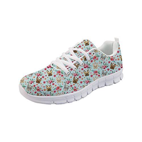 Coloranimal Casual DailyShoes Cómodo para Mujer Go Easy Walking Zapatillas para Correr Divertido Bulldog francés Patrón de Flores Calzado Deportivo con Cordones EU38