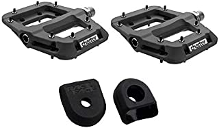 RaceFace Chester Mountain Bike MTB Pedals Pair, Lightweight Nylon Composite, with Crank Boot Protectors Kit (Choose Your Color)