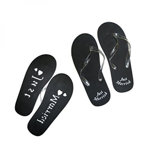 JUST MARRIED FLIP FLOPS [Mens Plain Black (11-13)]