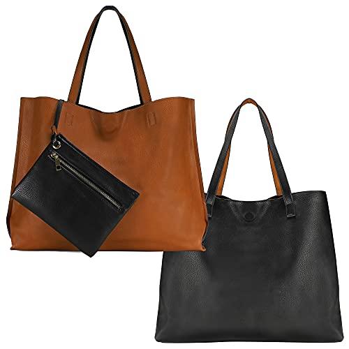 Scarleton Large Reversible Tote Bag for Women, Shoulder Bag, Brown H18422501