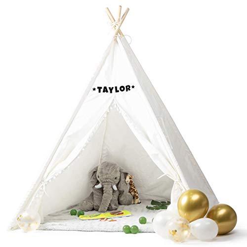 Milliard Tipi Zelt Spielzelt für Kinder mit Tragetasche & Bodenmatte, Anpassbar Kinderzimmer Spielzelt - 100% Baumwoll Indianertipi, Faltbar Teepee für Drinnen & Draußen