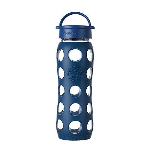 Lifefactory Glas Trinkflasche mit Silikon-Schutzhülle, BPA-frei, auslaufsicher, spülmaschinenfest, 650ml, dunkelblau