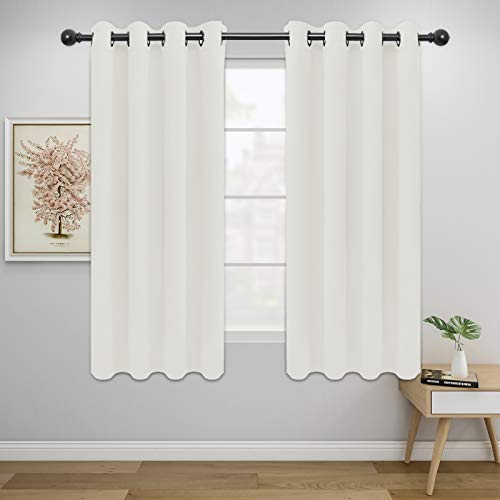 Easy-Going Blackout Curtains for Bedroom, Solid Thermal Insulated Grommet and Noise Reduction Window Drapes, Room Darkening Curtains for Living Room, 2 Panels(52x63 in,Ivory)