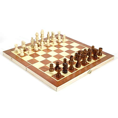 LUJIAN Ajedrez de Madera - Ajedrez de Viaje Juego De Ajedrez De Madera Plegable Juegos De Juego Checkers Backgammon Borradores Set De Ajedrez Grande (Color