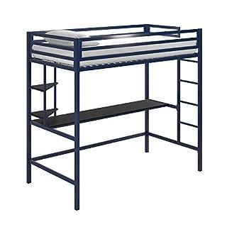 Novogratz 4370629N Maxwell Metal Twin Loft Desk & Shelves, Blue/Black Bunk Beds, Navy (B07TJK9XYM) | Amazon price tracker / tracking, Amazon price history charts, Amazon price watches, Amazon price drop alerts