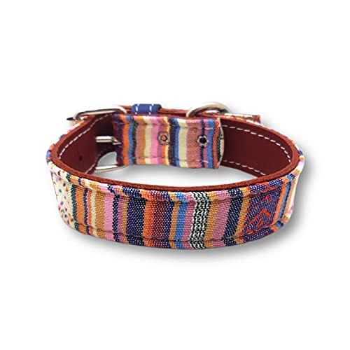 Collar para Mascota, Modelo Estampado Fabricado con Piel Muy Resistente y cómodo para su Mascota (50, Hippie)