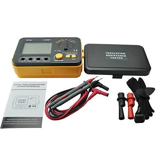 BE-TOOL Medidor de resistencia de aislamiento, VCB60+ medidor de resistencia de aislamiento digital Megger Megohm 1000V 0.1~2000MΩ (negro + naranja)