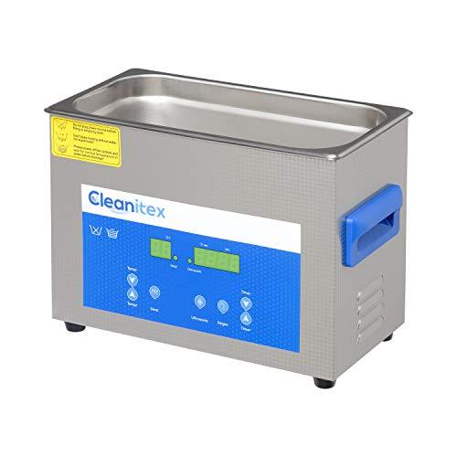 Cleanitex CXD4 Set (4 Liter), Ultraschallreinigungsgerät mit 40 kHz Frequenz, Ultraschallbad aus SUS304, Ultraschall Reinigungsbad mit 180 Watt Ultraschall-Leistung, Ultraschallreiniger mit Heizung