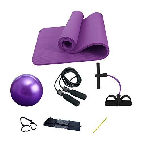 Yhjkvl Esterilla de yoga MatYoga de 4 piezas, apta para interiores y exteriores, alfombrilla de ejercicio antideslizante (tamaño: 183 x 61 x 1 cm, color: morado)