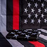 13 Fifty Apparel American Flag 3 x 5 Feet for Outdoor, Embroidered Nylon USA Flags with Two Brass Grommets and Double Stitched Stripes, Fade Resistant (Black Red)