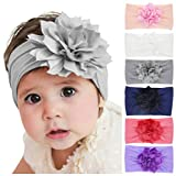 Baby Girl's Headbands with Chiffon Lotus Flower Soft Nylon Headwraps for Take Pictures (Mixed 6 Pack)