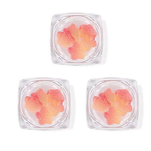 litulituhallo 3 cajas de frutas 3D rebanadas de uñas adornos de goma de uñas de color mezclado melocotón corazón decoración de uñas