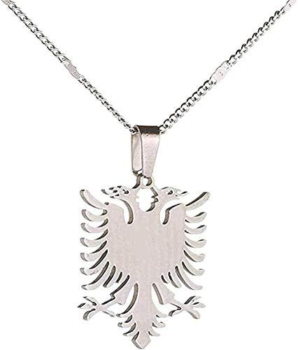 ZJJLWL Co.,ltd Collar Collar Albania Águila Collares Pendientes Acero Inoxidable Étnico Moda Animal Joyería Regalos Regalo para Mujeres Hombres Regalo