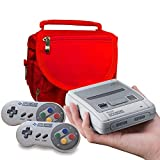 Orzly SNES Mini Travel Bag for Super Nintendo Mini Classic Edition (New 2017 Model Mini Version of Super NES) - Fits Console + Cable + 2 Controllers - Includes Shoulder Strap + Carry Handle - RED