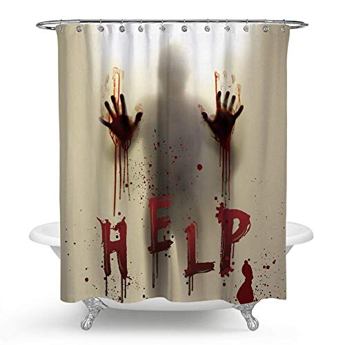 TIAQUN Halloween Shower Curtain, Bloody Shower Curtain Horror Shower Curtain Scary Halloween Help Me Scary Bloody Hands Silhouette Shadow Shower Curtain for Bathroom Deocr.70x70Inch