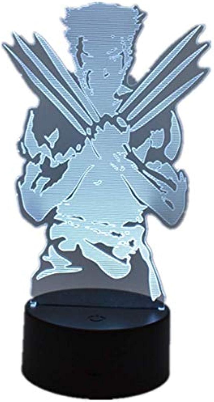 Umgebungslicht, Avengers Superheld Wolverine LED Dekoration Nachtlicht 3D Stereo Vision USB Schlafzimmer Licht Acryl Touch   Fernbedienung 16 Farbe Schlafzimmer Schlaflicht Kreatives Geschenk Stimmung