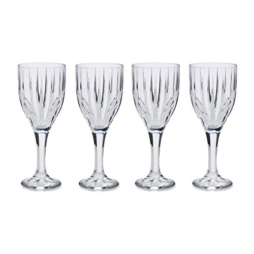 Mikasa Revel - Copas de vino de cristal (255 ml, 4 unidades), diseño acanalado, transparente