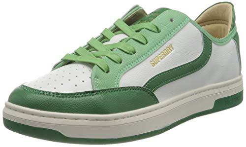 Superdry Herren Basket LUX Low Trainer Sneaker, White/Green, 44 EU