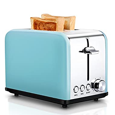 Compact Stainless Steel 2-Slice Toaster, Extra Wide Slots Cool Touch Toasters for Bagels Bread, Blue