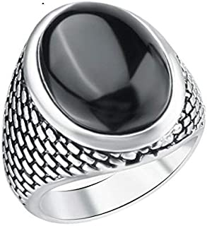 Men's 925 Silver Ring with Black Resin Stone