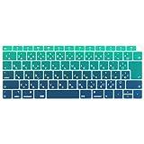 Batianda A1932 キーボードカバー JIS日本語対応 最新 MacBook Air 2018 2019 13 インチ Touch ID & Retina 搭載 防滴 防水 マックブック キーボードスキンシール,グラデーショングリーン
