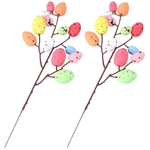 ABOOFAN Osterei Zweige DIY Ostern Blumenstecker Schaumstoff Bunte Eier Zweige 32CM 2pcs Vase Blumenarrangement Garten Zuhause Ostern Frühling Party Blumentopf Dekostecker Dekoration