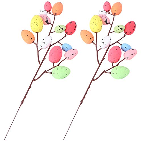 VALICLUD 2pcs Easter Egg Tree Branches Flower Picks Foam Easter Craft Egg Picks Colored Easter Egg Ornaments Happy Easter Decoration Cake Topper