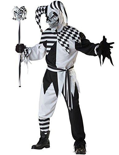 KULTFAKTOR GmbH Böser Clown Harlekin Halloween Kostüm schwarz-Weiss M