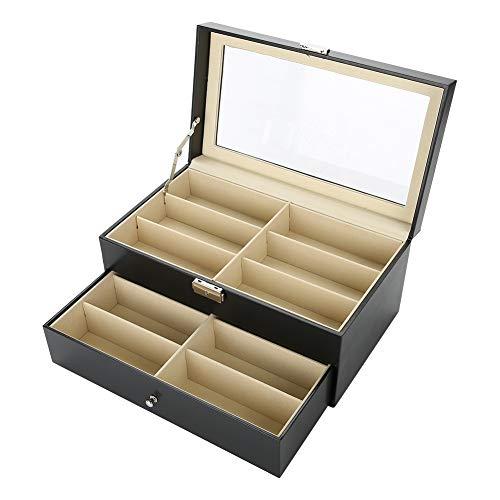 Zerone Caja de gafas, doble capa, 12 ranuras, para gafas de sol, organizador portátil