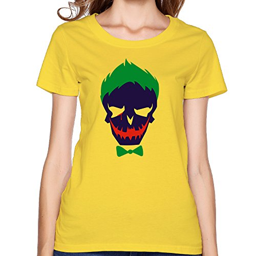 VOLTE Joker Suicide Film Squad Task Comic Force X Character Logo - Camiseta para mujer, color amarillo