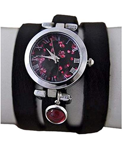 Armbanduhr mit traumhaften Kirschblüten, Amethyst und Leder-Wickelarmband - Muttertag - Geschenk für Sie - Schmuck-Geschenk - Handmade Geschenk