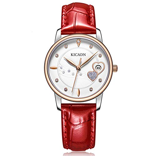 LIRUI057 Women'S Fashion Horloge, Mooie Diamond-Encrusted VrouwenHorloge Japanse Beweging Kalender Waterdichte Mode Riem Dames Horloge
