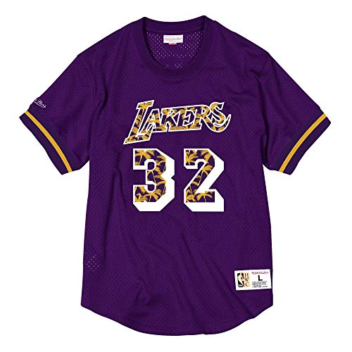 Mitchell & Ness Nome & Number Mesh Crewneck LA Lakers Magic Johnson # 32, Viola, XL