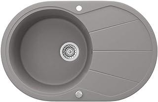 Bergström Granitspüle 780x500mm inkl. Siphon Küchenspüle Einbauspüle reversibel Beton