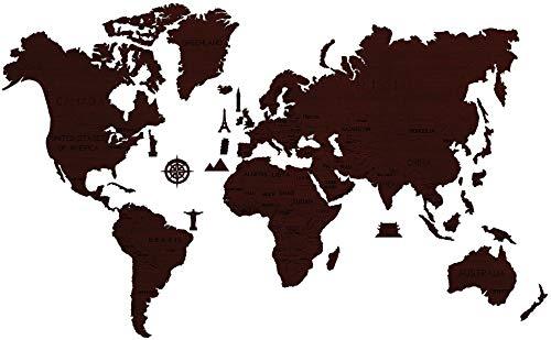 Wooden City - Puzzle en bois - Carte du Monde - Taille XL - Couleur Oak - 120 x 80 cm