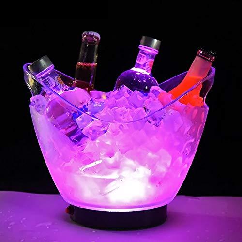 ESGT Secchiello per Il Ghiaccio con Illuminazione a LED, Colore Cangiante, per Champagne, Vino, Bevande, 4L, Grande capacità, per KTV Party Bar