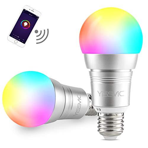 YISSVIC Smart Bombilla 2 Pcs WiFi Bombilla LED Inteligente E27 9W Ajustable Multicolor Funciona con Alexa, Echo, Google Home y IFTTT