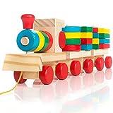 all Kids United Holz-Eisenbahn Spielzeug-Eisenbahn aus Holz; Kinderspielzeug Sortierwürfel Holzzug Lernspielzeug