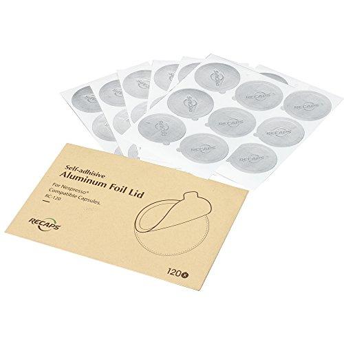 RECAPS Aluminum Espresso Lids Foil Seals Reusable Pods Compatible with Nespresso Original Line (Lids 240 Pcs Only) 37mm in Diameter