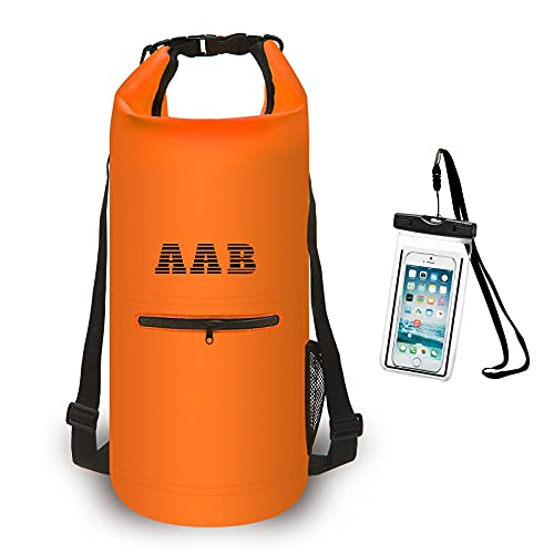 AAB Waterproof Dry Bag Backpack- 20 L with Phone Case-Floating Dry Sack with Adjustable Shoulder Strap Dry Bag for Boat Water Sports Kayaking Rafting Boating Beach, Gifts for Men and Women (Orange)