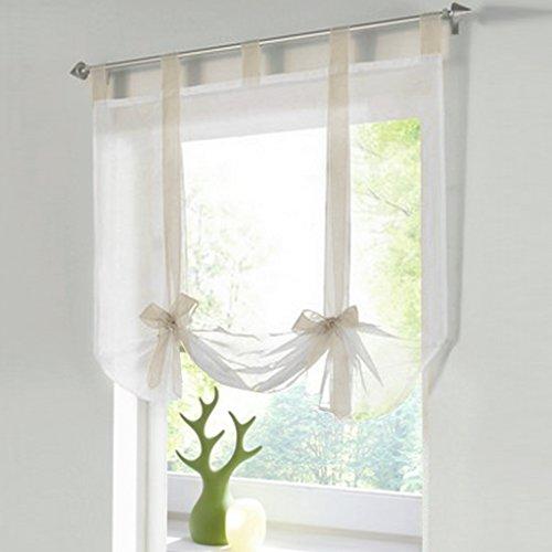 HongYa Raffrollo Voile Transparent Vorhang mit Band BxH 100x140cm Sand