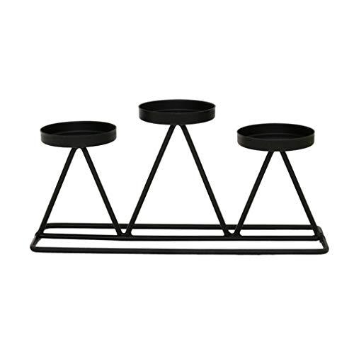 Portavelas estilo nórdico de hierro forjado con 3 candelabr
